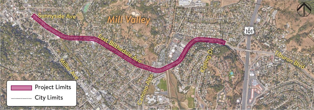 East Blithedale Avenue Rehabilitation Project Map